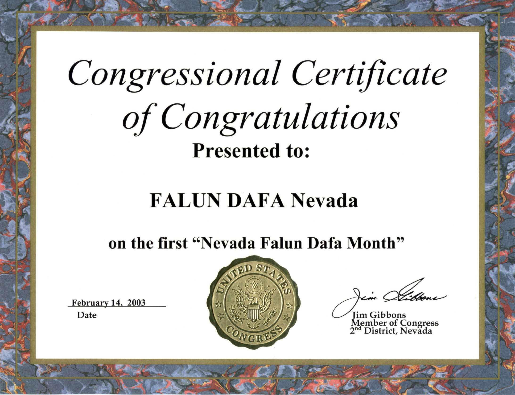 US Congressman Jim Gibbons Presents a Congressional Certificate of – Congratulations Certificate