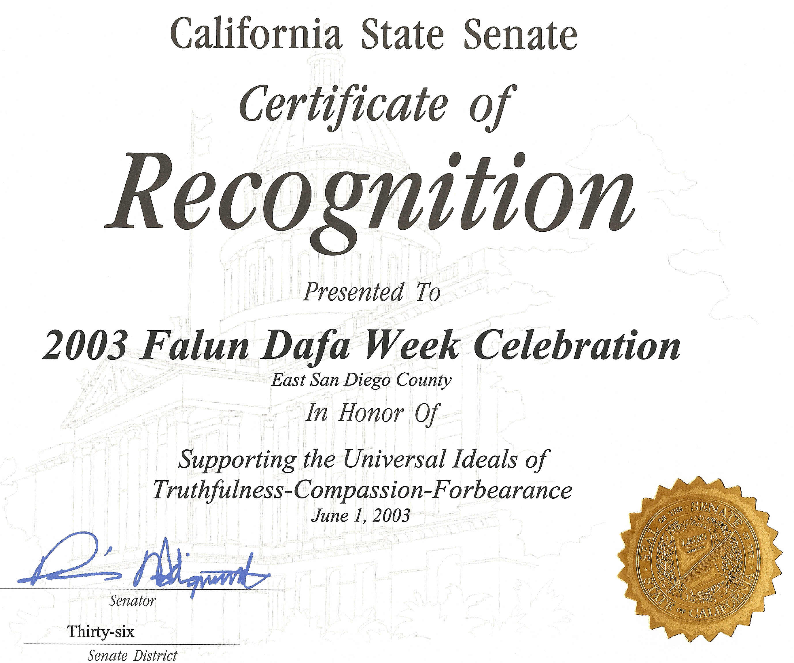 Certificate of Recognition in Honor of Supporting the Universal ...