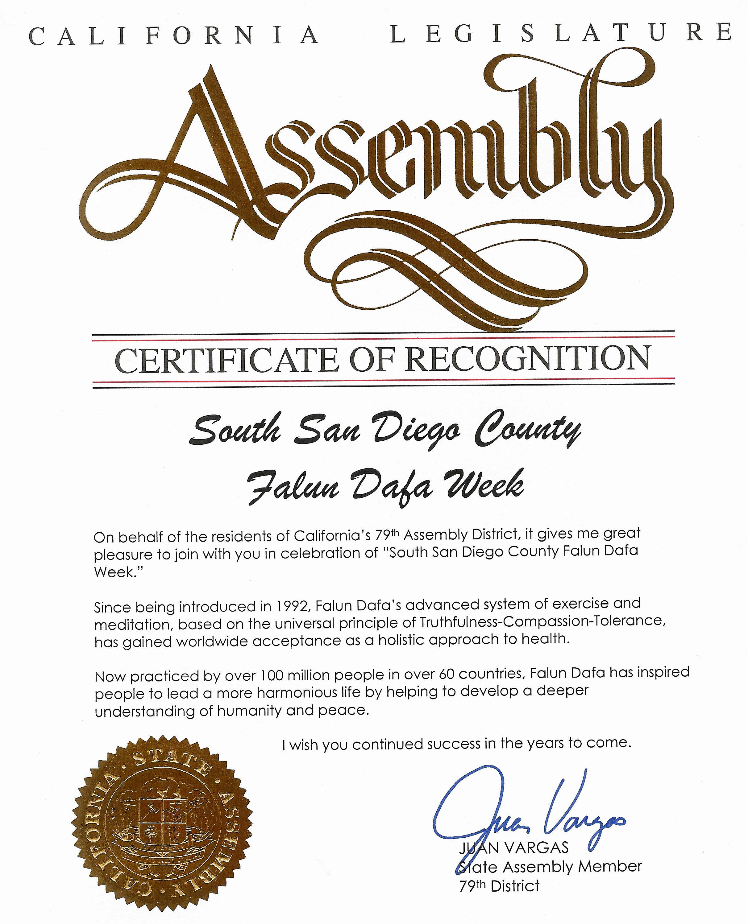 Certificate of recognition in celebration of south san diego clearwisdom in may 2004 california state assembly member juan vargas from the 79th assembly district presented a certificate of recognition for south yadclub Gallery