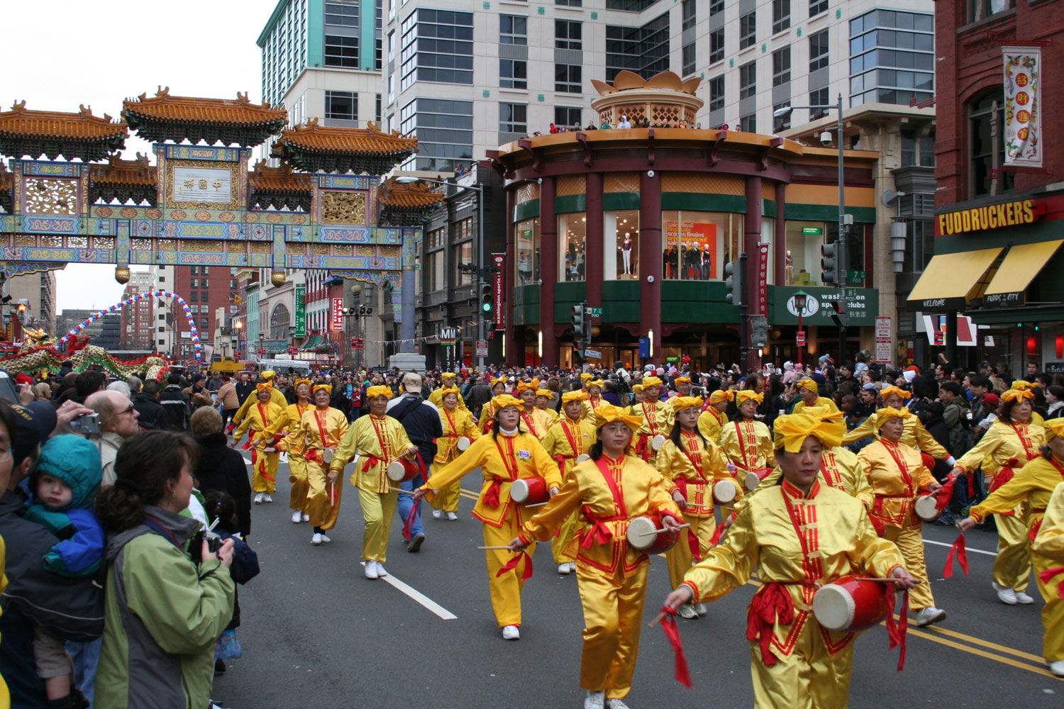 Washington dc falun gong practitioners participate in for Chinese new years parade